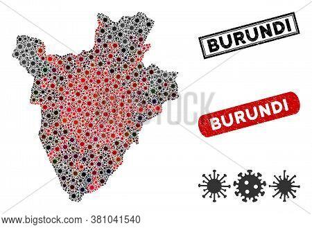Coronavirus Collage Burundi Map And Corroded Stamp Seals. Burundi Map Collage Created With Random Re