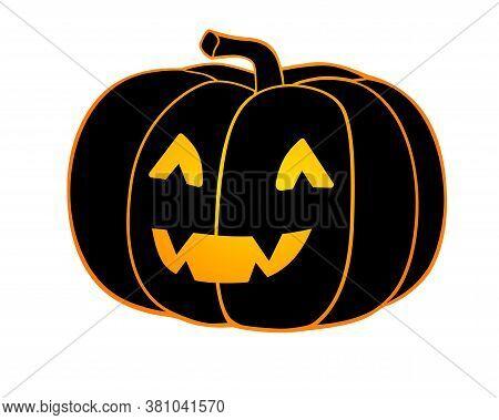 Halloween Pumpkin - Full Color Stock Illustration. Jack's Lantern Is A Black Pumpkin Silhouette With