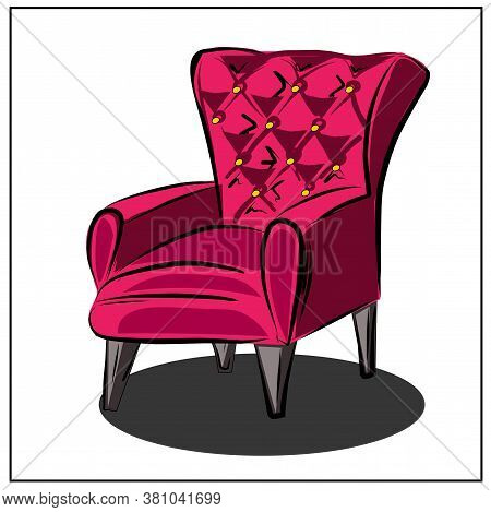 Classic Red Armchair.furniture. Interior. Household Items. Isolated Vector Objects From The Set Abou