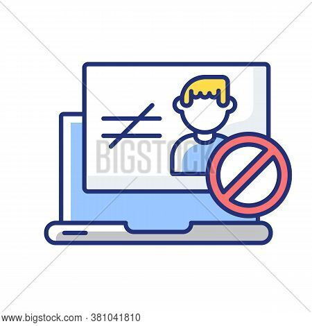 Unauthorized Access Rgb Color Icon. Website Authorization Failure, User Verification Problem. Intern