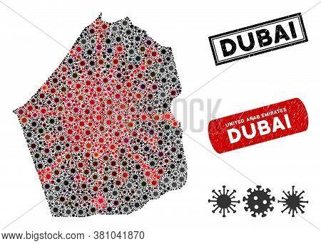 Coronavirus Collage Dubai Emirate Map And Corroded Stamp Seals. Dubai Emirate Map Collage Composed W