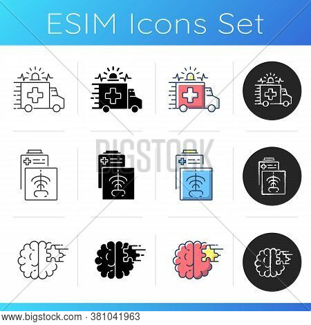 Health Care Icons Set. Ambulance. Radiology Department. Emergency Response. Ct Scan. Psychiatric War