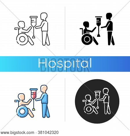 Rehabilitation Services Icon. Physical Therapy. Medical Care. Rehabilitation For People With Disabil
