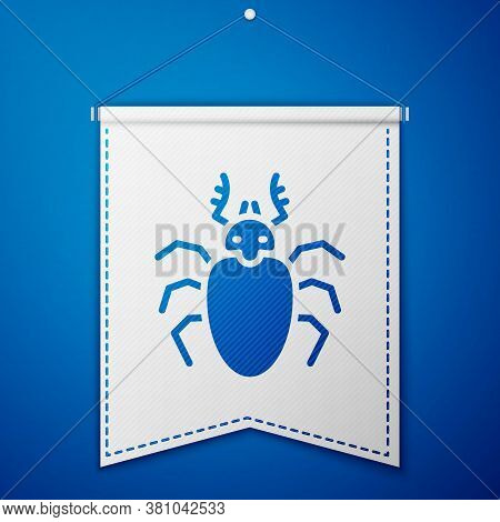 Blue Beetle Deer Icon Isolated On Blue Background. Horned Beetle. Big Insect. White Pennant Template