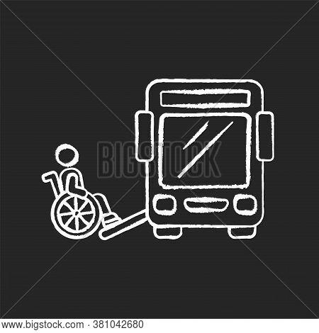 Bus Ramp Chalk White Icon On Black Background. Bus Wheelchair Ramp. Vertical Platform Lift. Accessib