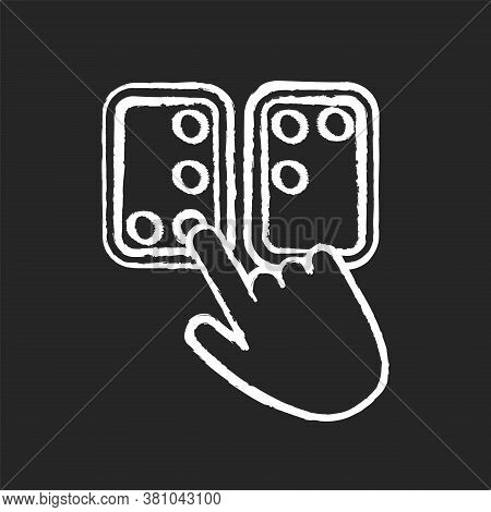 Braille Directions Chalk White Icon On Black Background. Tactile Reading System For Blind Persons. W