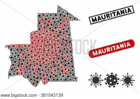 Coronavirus Collage Mauritania Map And Rubber Stamp Seals. Mauritania Map Collage Composed With Scat
