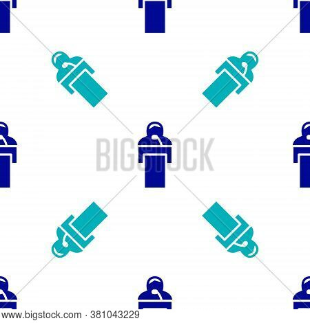 Blue Gives Lecture Icon Isolated Seamless Pattern On White Background. Stand Near Podium. Speak Into