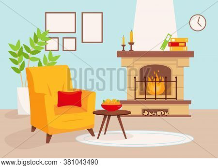 Living Room With Fireplace And Yellow Armchair. Cozy Interior Vector Illustration.
