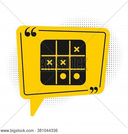 Black Tic Tac Toe Game Icon Isolated On White Background. Yellow Speech Bubble Symbol. Vector