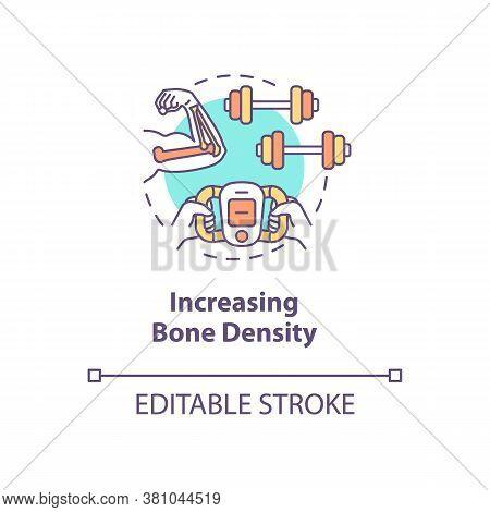 Increasing Bone Density Concept Icon. Diy Biology, Biohacking Idea Thin Line Illustration. Intense S