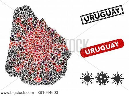 Coronavirus Collage Uruguay Map And Corroded Stamp Watermarks. Uruguay Map Collage Constructed With