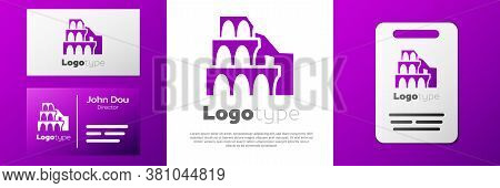 Logotype Coliseum In Rome, Italy Icon Isolated On White Background. Colosseum Sign. Symbol Of Ancien