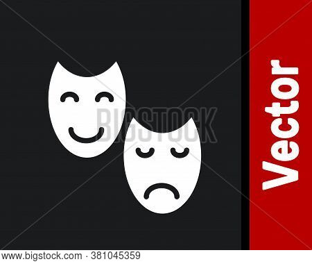 White Comedy And Tragedy Theatrical Masks Icon Isolated On Black Background. Vector