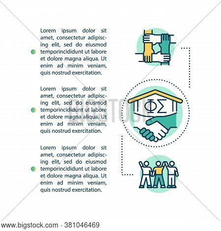 College Brotherhood Concept Icon With Text. High School Sorority. University Fraternity Ppt Page Vec