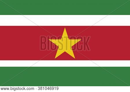 National Suriname Flag, Official Colors And Proportion Correctly. National Suriname Flag.