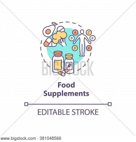 Food Supplements Concept Icon. Healthy Nutrition, Biohacking Tips Idea Thin Line Illustration. Vitam
