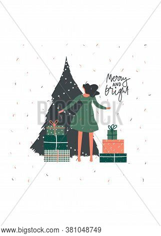 Merry Christmas Celebration Greeting Card Design. Noel Gift With Presents Near Christmas Tree. Hand