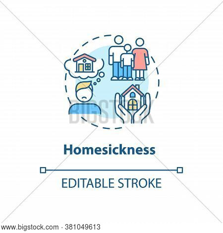 Homesickness Concept Icon. Anxiety From Separation. Depression From Long Distance. College Life Idea