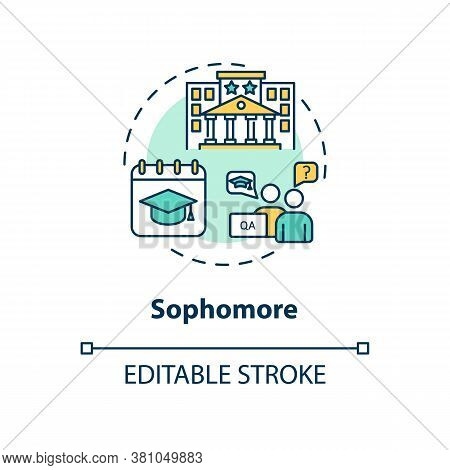 Sophomore Concept Icon. Student On Second Year Studying. University Class Period. High School. Colle