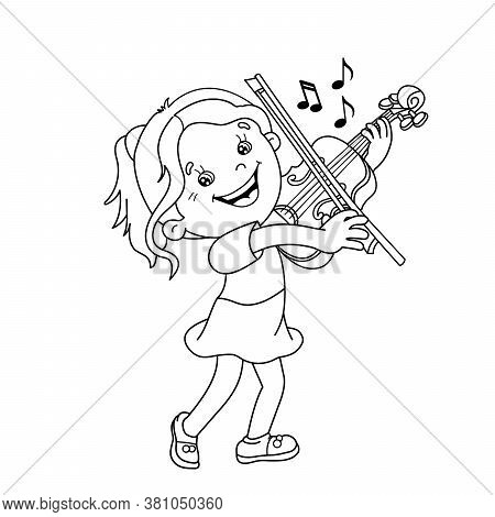 Coloring Page Outline Of Cartoon Girl Playing The Violin. Musical Instruments. Coloring Book For Kid