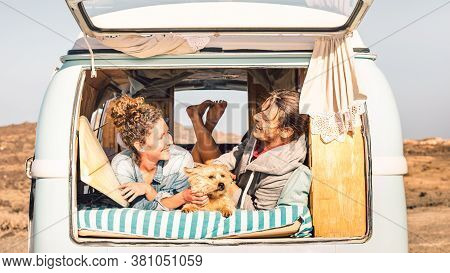 Hipster People With Cute Dog Traveling Together On Vintage Minivan - Wanderlust And Life Inspiration