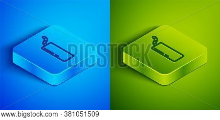 Isometric Line Detonate Dynamite Bomb Stick And Timer Clock Icon Isolated On Blue And Green Backgrou