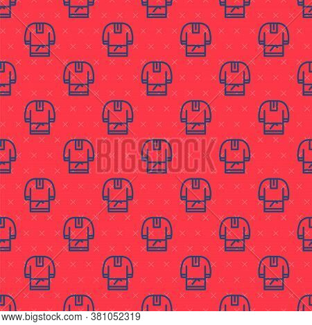 Blue Line Kosovorotka Is A Traditional Russian Shirt Icon Isolated Seamless Pattern On Red Backgroun