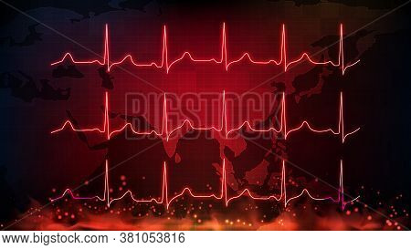 Abstract Background Of Digital Ecg Heartbeat Pulse Line Wave Monitor And Southeast Asia Maps