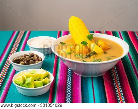 Bowl Of Vegan Ajiaco, Traditional Pre Colombian South American Dish Composed Of Three Diferent Types