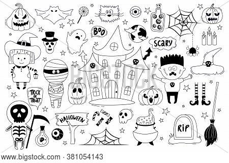 Halloween Objects Collection. Hand-drawn Vector Illustration With Pumpkins, Tombstone, Skull, Mummy,
