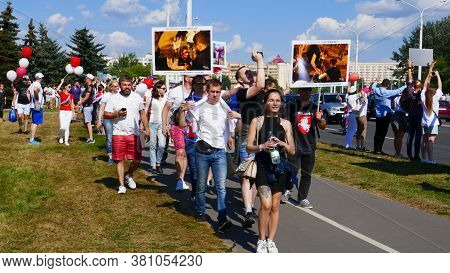 Minsk, Belarus August 16, 2020: Peaceful Protests In Belarus. Protesting Against Dictator President