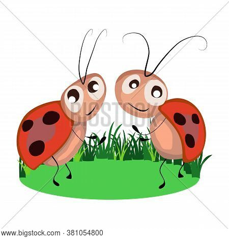Picture In Cartoon Style, Image Of Ladybirds, Vector Illustration, Isolate On A White Background