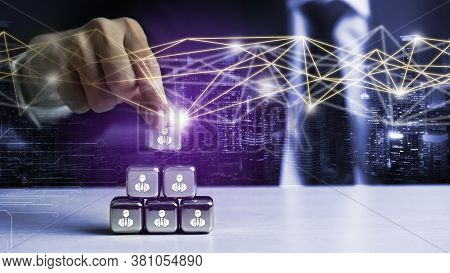 People Network And Global Creative Communication Concept. Business People With Modern Graphic Interf