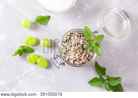 Peppermint Sugar And Spearmint Candy. Sweet Candy And Leaves Of Fresh Mint