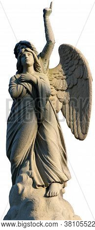 An Angel Pointing Heavenly While Holding A Woman Over White Background.