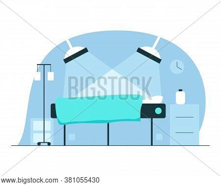 Surgery Room Interior. Vector Illustration Of Interior Of A Surgery Room In The Hospital With Operat