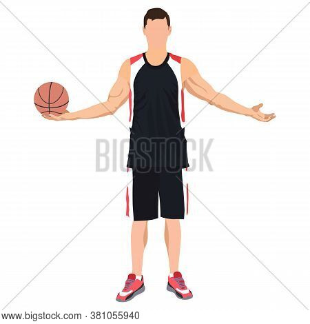 Young Man Athlete, Professional Basketball Player Standing With Ball In Hand, Vector Illustration. S