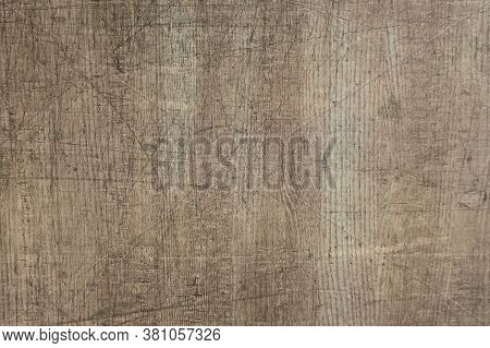 Woody Scratched Texture. Vintage Background With Scratches. Textured Dark Wooden Background With Cra
