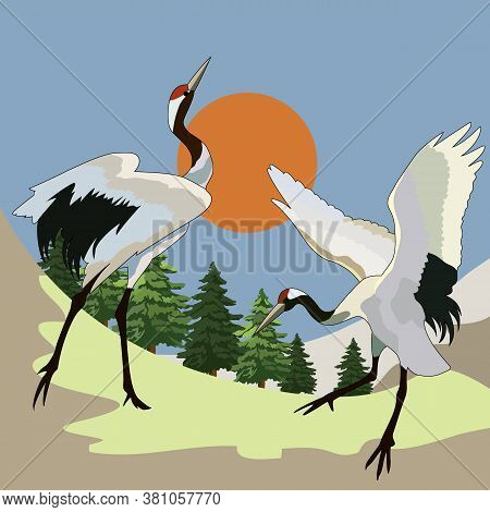 Drawing, Background With Storks, The Sun And Fir Trees, Vector Illustration
