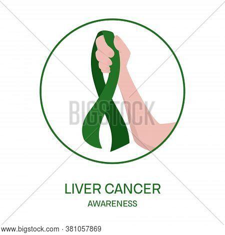 Liver Cancer Awareness Ribbon In Hand Medical Illustration