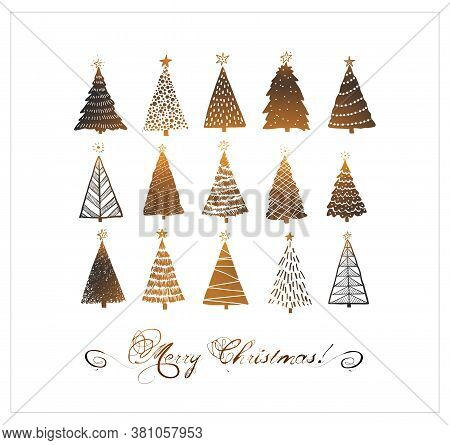 Christmas Greeting Card With Christmas Tree Doodles On White Background.