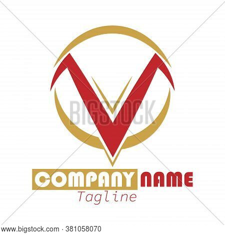 Stylized Letter V. Abstract Stylized Vector Illustration For Logo, Sticker, Emblem Isolated On White