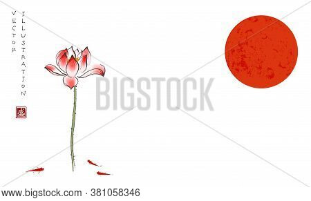 Big Red Sun, Lotus Flower, Gingko Leaf And Three Little Red Fishes On White Background. Traditional