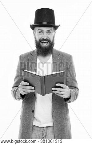 Literature That Evokes Emotional Response. Happy Hipster Read Book. Literature Education. English Li