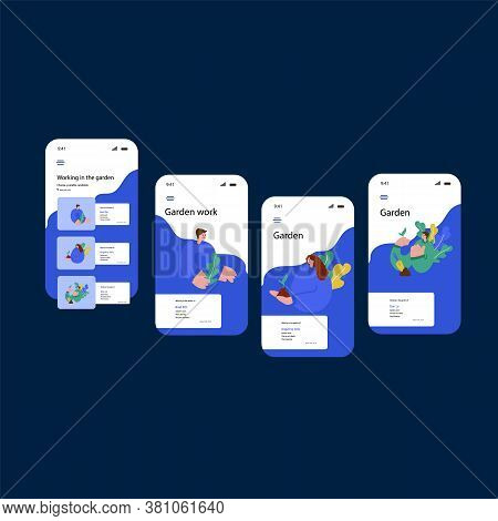 Template For The App. Illustration Of Several Landing Pages Of The App With A Bright Design. Concept