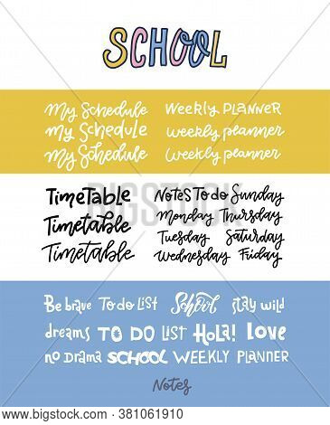Hand Dtawn Custom Lettering Of The Days Of The Week For Your Designs. Handwritten Text For Your Week