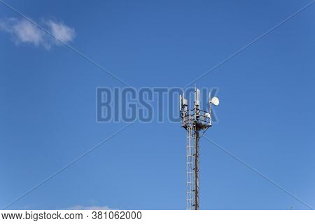 Telecommunication Tower With Copy Space.digital Wireless Connection System.development Of Communicat