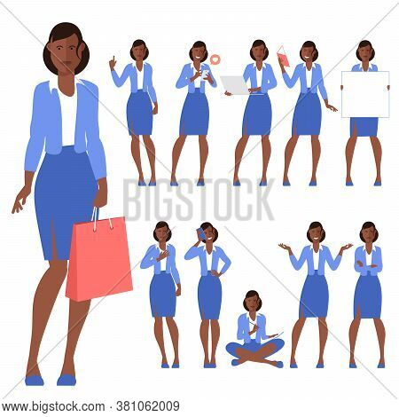 Set Of Flat Design Young Black Afro American Woman Characters, Various Poses And Gestures And Everyd
