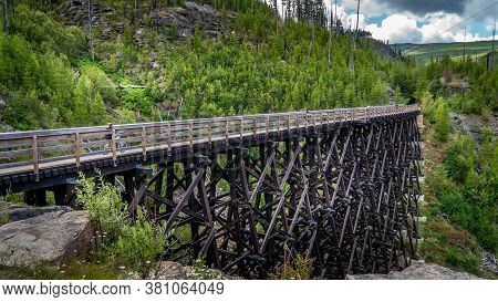 One Of The 18 Wooden Trestle Bridges Of The Abandoned Kettle Valley Railway In Myra Canyon Near Kelo